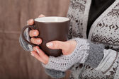 Woman with hot chocolate — Stock Photo