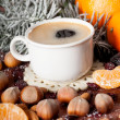 Hot coffee with delicacies — Stock Photo