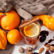 Winter fruits and drink — Stock Photo
