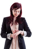 Woman checking time — Stock Photo