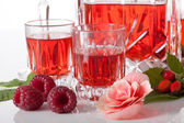 Proposition of serving raspberry liqueur — Stock Photo