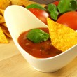 Stock Photo: Salssauce with dipped nacho