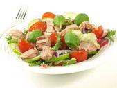 Salad with tuna, tomatoes, basil and onion. — Stock Photo