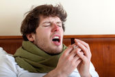 Man with sinus infection — Stock Photo