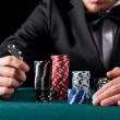 Casino gambler with chips — Stock Photo #39535459