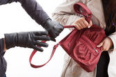 Thief holding a bag — Stock Photo
