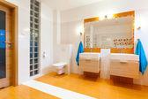 New big bathroom in cozy house — Stock Photo