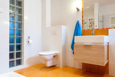 New practical bathroom in modern house — Stock Photo