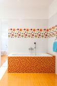 Big comfortable practical bath — Stock Photo