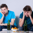Boring beer and nachos evening — Stock Photo