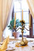 Beautiful decorative restaurant table — Stock Photo