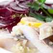 Herring with beets snack — Stock Photo #40431359