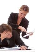 Boss und gelangweilt Arbeitnehmer — Stockfoto