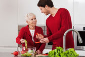 Elderly lady with her son — Stock Photo