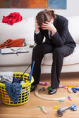 Businesswoman and children's mess — Stock Photo