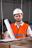 Handsome engineer in factory — Stockfoto