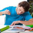 Student doing homework — Stock Photo