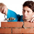 Man building a wall — Stock Photo