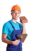 Builder with spatula — Stock Photo
