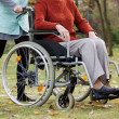 Nurse pushing wheelchair — Stock Photo