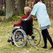 Stock Photo: Carer on walk with patient