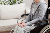 Lady on wheelchair — Stock Photo