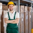 Factory worker in warehouse — Stock Photo