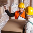 Manager giving worker instruction in warehouse — Stock Photo