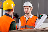 Project workers during job — Stock Photo