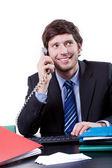 Homme d'affaires, parler par téléphone — Photo