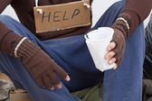 Homeless waiting for alms — Stock Photo