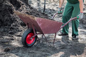Worker transports a soil — Stock Photo