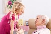 Smilening granddaughter — Stock Photo