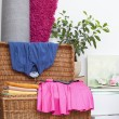 Clothes on basket — Stock Photo