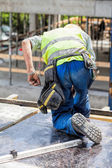 Worker on the building site — Stock Photo