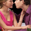 Romantic dinner holding and kissing — Stock Photo #42108755