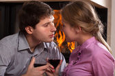 Toast by fireplace — Stock Photo