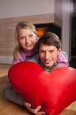 Heart-shaped pillow — Stock Photo