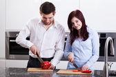 Couple preparing meal — Stock Photo
