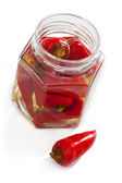 Chilli peppers in marinate — Stock Photo