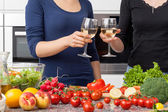 Lesbian in the kitchen — Stock Photo