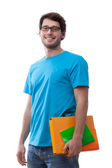 Smiling student keeping folder — Stock Photo