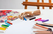 Pencils, crayons and paints — Stock Photo