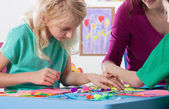 Creative work in kindergarden — Stock Photo