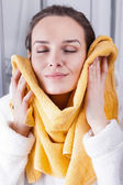 Enjoying the softness of a towel — Stock Photo