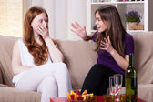 Two girl's meeting — Stock Photo