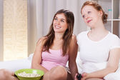 Friends watching movie — Stock Photo