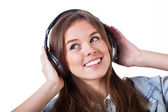 Teenage girl listening the music — Fotografia Stock