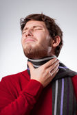 Man suffering from sore throat — Foto de Stock