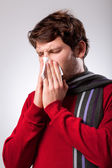 Man suffering from running nose — Stock Photo